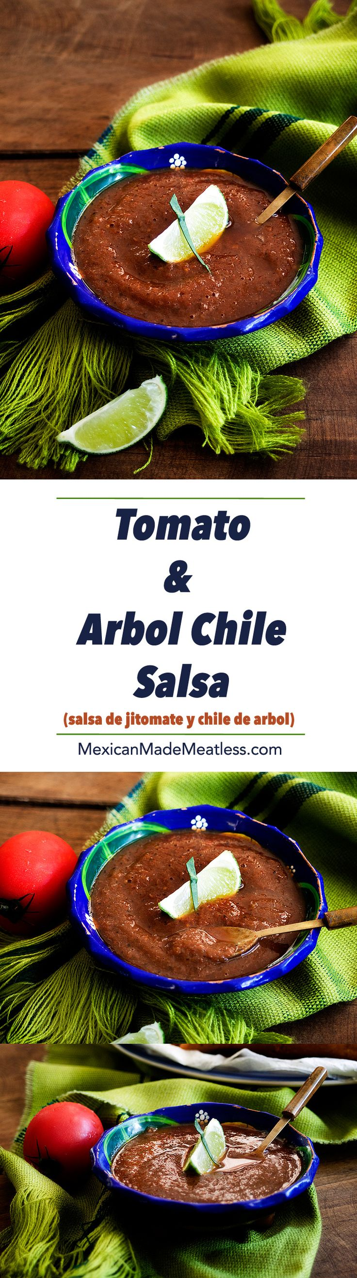 Salsa roja made with Tomatoes and Chiles de Arbol: Perfect for topping, dipping or cooking with! | #vegan #salsaroja #salsas #chilesdearbol #chipsandsalsa