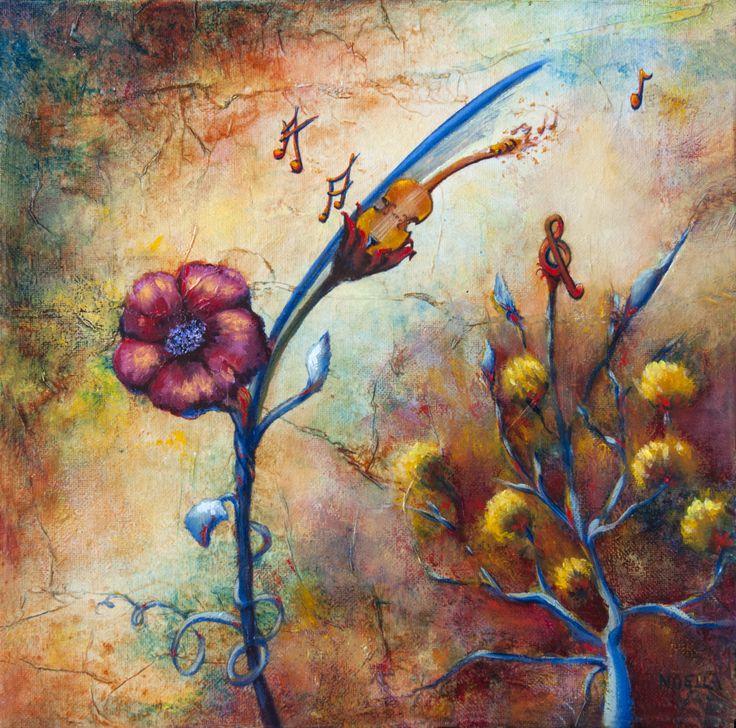 Y'a d'la musique dans l'air is a whimsical painting of music