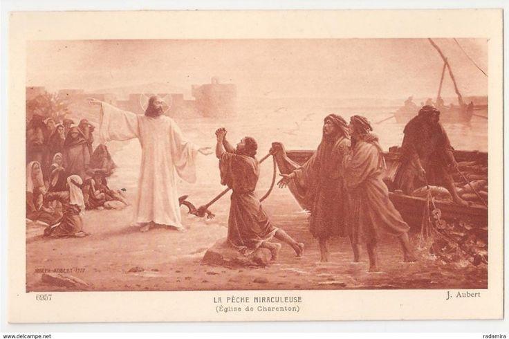 """Carte Postale Ancienne """"LA PÊCHE MIRACULEUSE"""" - Joseph Aubert (Église de charenton) - Salon de Paris - France."""
