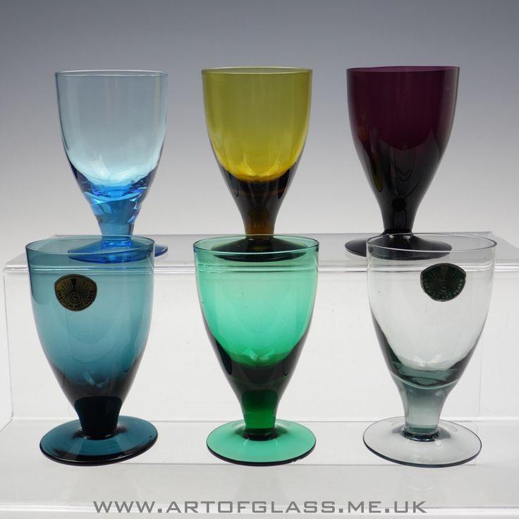 Harlequin set of 6 Swedish glasses