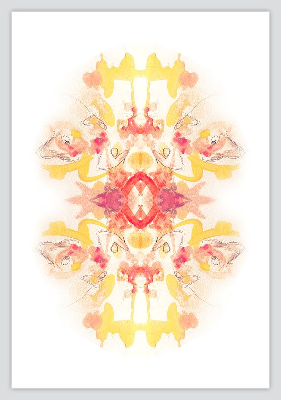 Watercolor Painting  Abstract Kaleidoscope Art by OBSESSIVISION, $41.00      Watercolor Painting - Abstract Kaleidoscope Art Print 12x16 - Ikat - Symmetry - Ink Blot - Rorschach - Pattern - yellow - coral - red - Tie Dye - tribal - graphic design - drawing - illustration - artwork - interior decor - wall art - poster - sunny - warm