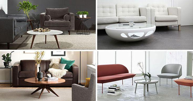 Идеи мебели - круглые журнальные столики из стекла, дерева, мрамора и металла