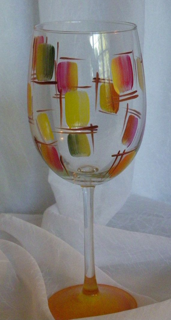 Autumn Stained Glass Hand Painted Wine Glasses by TheGardenPot999