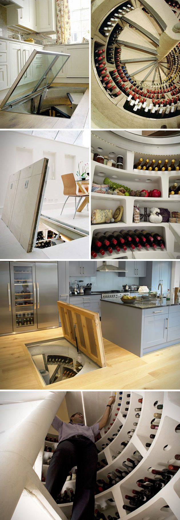 "If you're looking for a wine cellar that will really add that ""Wow"" factor to your home, look no further than these Spiral Wine Cellars.   This underground wine storage solution can be installed pretty much anywhere you can dig. The spiral cellars are a concrete constructed cylindrical system that is completely watertight, and comes equipped with a trapdoor at the top to access your prized collection of booze."