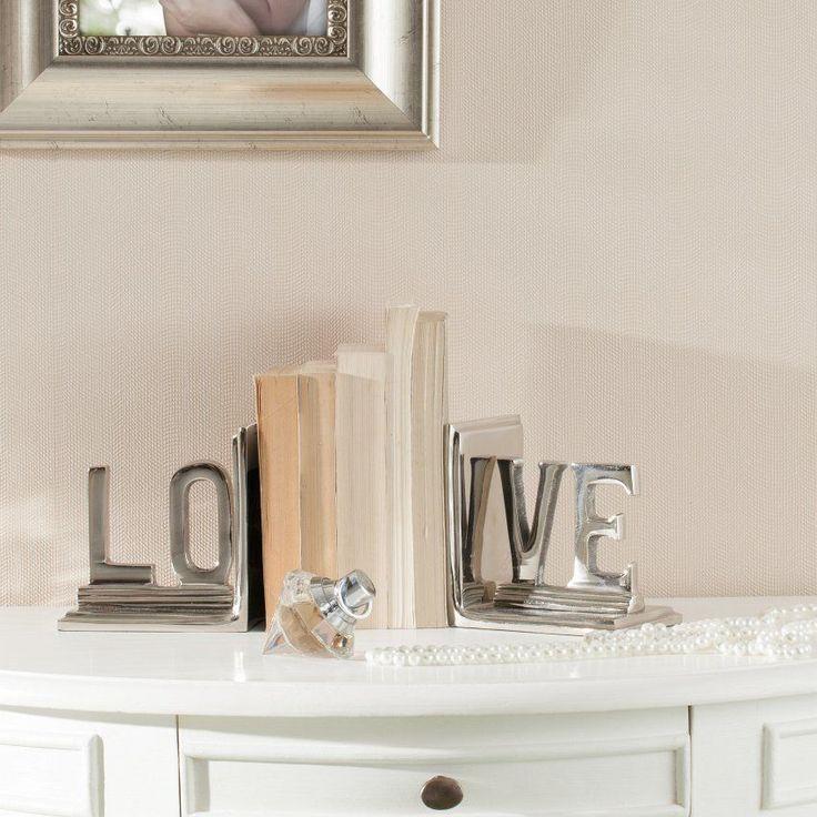 Podpórki na książki Love metal 12,5x9x13cm, 12,5x9x13cm - Dekoria  #love #milosc #dekoracje #prezenty #gift #celebration #ideas