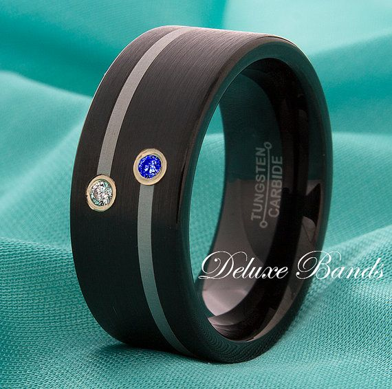 Diamond & Blue Sapphire Tungsten Ring,Tungsten Wedding Ring,Mens Diamond Tungsten Wedding Ring,Womens Tungsten Band,Tungsten Sapphire Ring