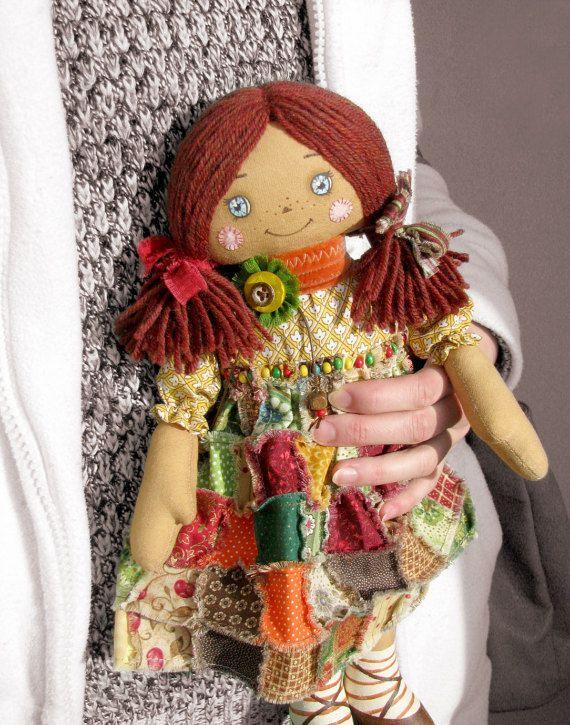 Primitive Handmade Soft Doll / Raggedy Ann / Rag Doll / Fabric doll / fairy doll