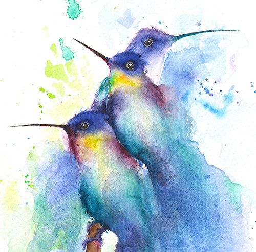 Hummingbirds just seem to effortlessly lighten up your day and spirit with their beauty and animation. This abstract painting of hummingbirds is of a species known as the golden tailed sapphire, or lessons sapphire. This bird is seriously colorful! I hope you enjoy this original bird artwork.    *PRINTS of this original painting can be found here:  http://www.etsy.com/listing/195153716/hummingbird-charm-colorful-bird-art?  ________________________________________________________    TITLE…