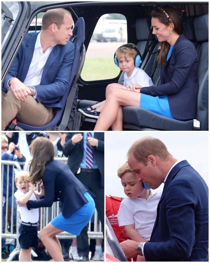William, Kate and George checking out some aircrafts at the International Air Tattoo show right now!