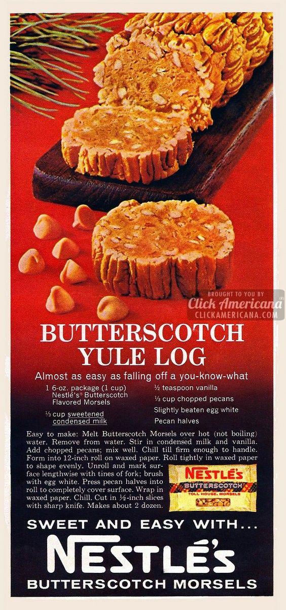 Butterscotch yule log recipe (1967)