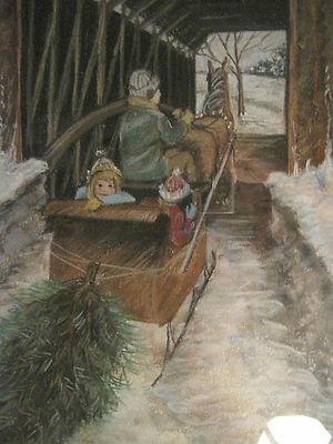 American FOLK ART Nostalgic New England Christmas Covered Bridge Frame Painting on e-bay 11/11/12