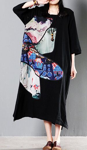 2016 black linen maxi summer dress plus size linen sundress traveling clothing