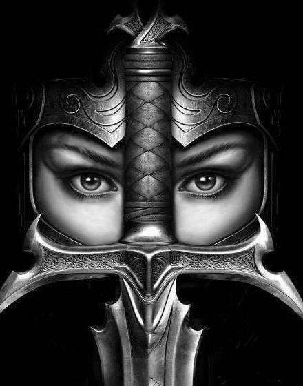 **Female warrior portrait bw