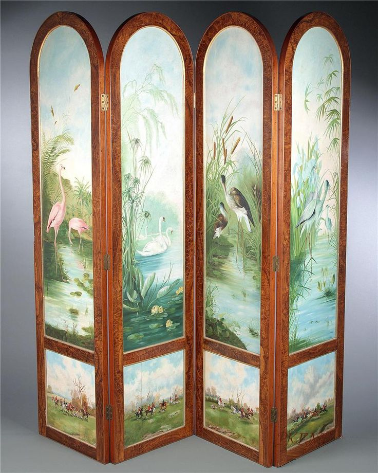 121 best images about ornate victorian screens room for Painted screens room dividers