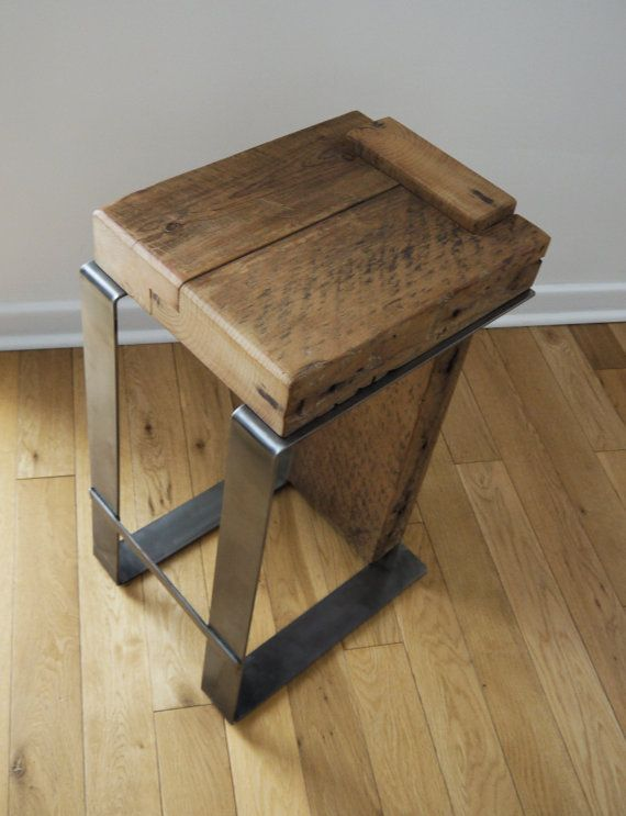 Reclaimed wood bar stool industrial bar stool handmade furniture modern rustic furniture Unique wooden furniture
