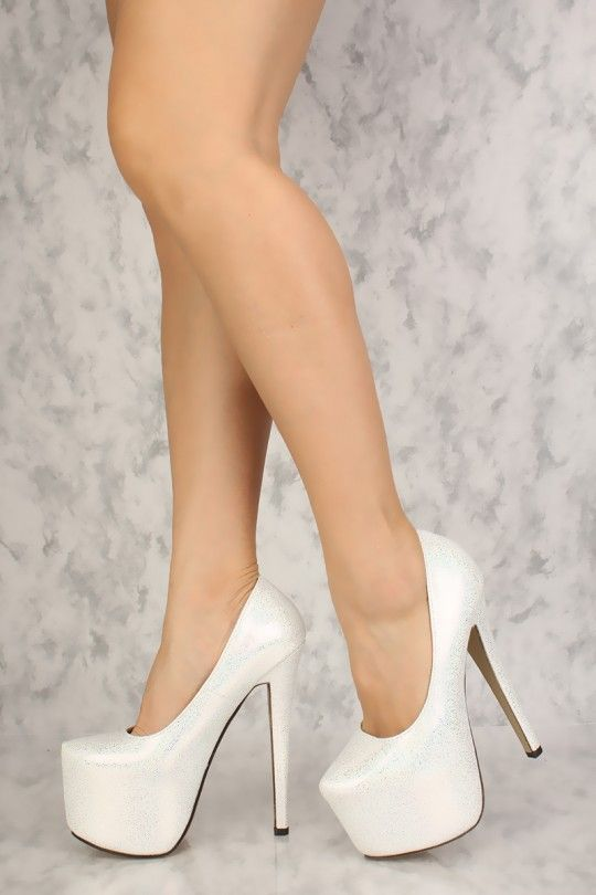 f2864f974a White Holographic Platform Pump 6 Inch High Heels Faux Leather  #Platformhighheels