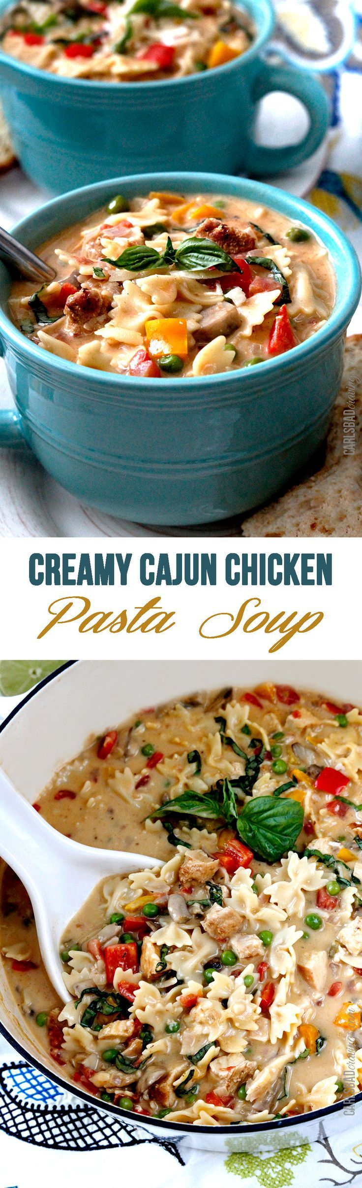 Creamy Cajun Chicken Pasta Soup -- everything you love about the cajun chicken pasta, but in an incredible creamy broth! http://www.carlsbadcravings.com/creamy-cajun-chicken-pasta-soup/