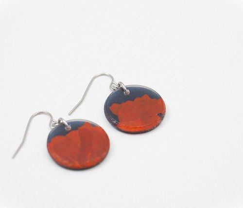 floral elements earrings circle. Upcyled jewelry. Moda sostenible