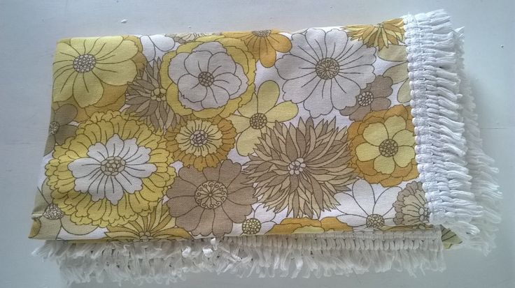 Retro double bedspread / large fringed throw in yellow by Marks and Spencer St Micheal by BlindDogVintage on Etsy
