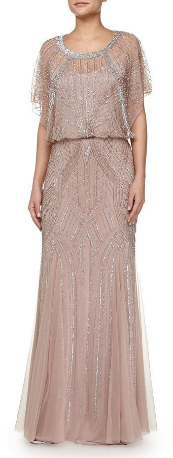Aidan Mattox Beaded Butterfly-Sleeve Chiffon Gown, Rose Gold on shopstyle.com