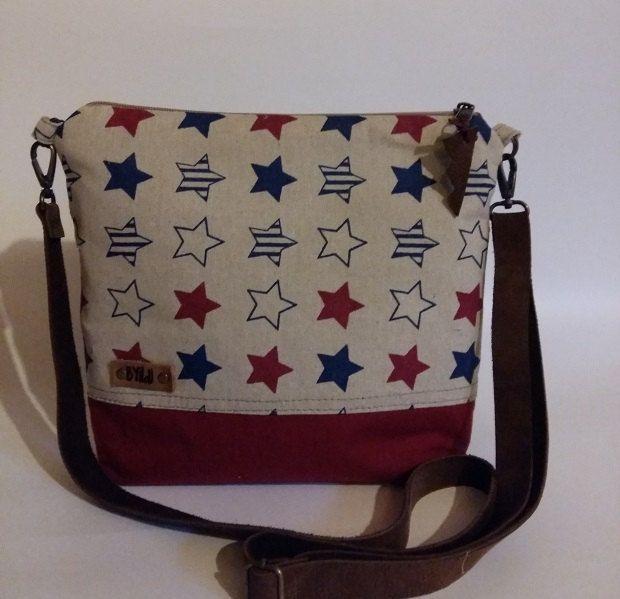 Something America- Cross body bag-Everyday bag- Gift for her-Medium bag-leather strap-US flag-Canvas bag