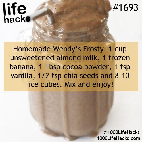 Wendy's Frosty:  smoothie of almond milk, frozen banana, cocoa powder, vanilla, chia and ice.