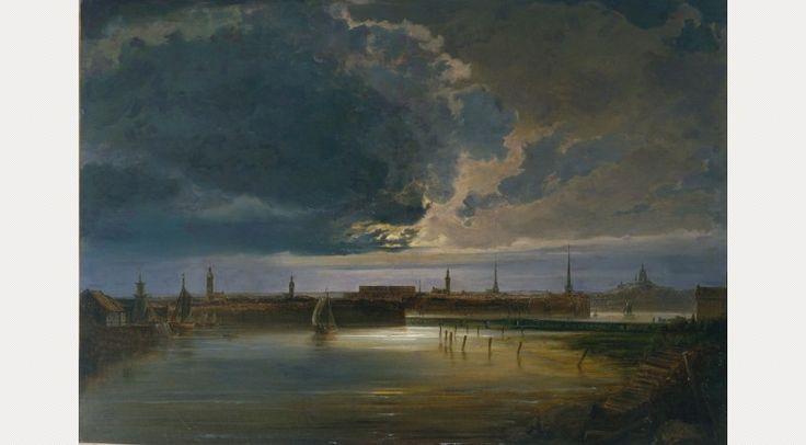 Peder Balke, Moonlit View of Stockholm, c.1850