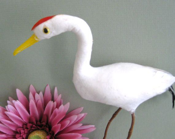 White Craft Bird Supply. Tropical Bird Crane Bird Artificial Bird Decor Fake Bird Decoration Heron Floral Bird Ornament Decorative Miniature - pinned by pin4etsy.com