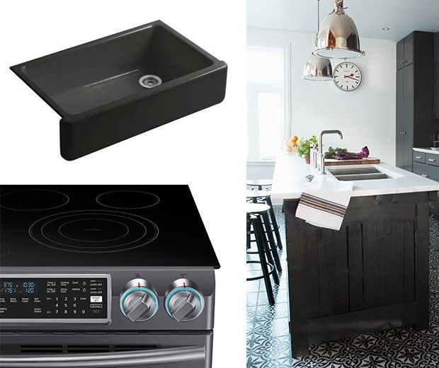 Looking for a recipe for a country or farmhouse kitchen that doesn't feel dated? Rustic wood, painted cabinets and apron-front sinks are still a key part of the mix, but new materials, colours and technology bring the look on-trend. Try one of these style moves to update your kitchen. | #KitchenDesign #SamsungBlackStainlessSteel
