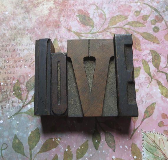 L O V E Antique Wooden Letterpress Printer's Type Print