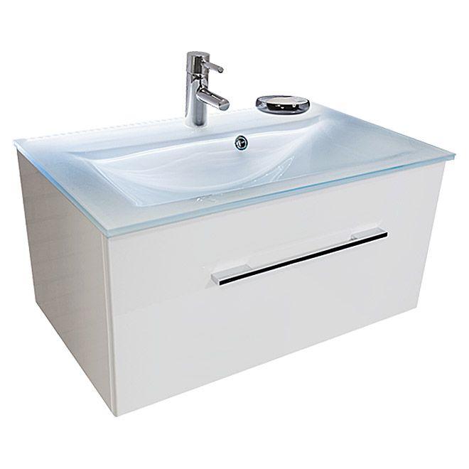 Riva Stella Waschtischunterschrank 47 X 80 X 39 Cm 1 Schubkasten Mit Beleuchtung Weiss Waschtischunterschrank Glaswaschbecken Schubkasten
