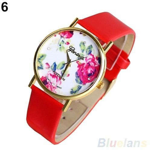 Fashion Genovia Quartz Crystal Women Ladies Girls Wrist Watch Red 277 #Unbranded #Casual