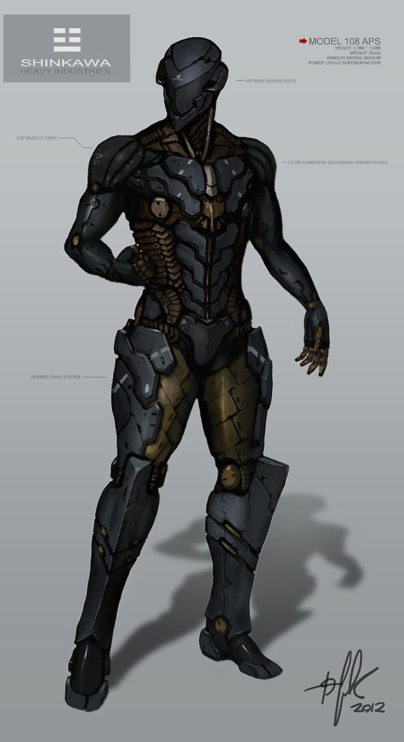 This feels as close to the limit as we can go with a sleek outer shell that will sit on top of a base suit and exoskeleton - it might actually be sleeker than we can manage with the planned system - it's good reference for where we could go with the Assassin Archetype though.