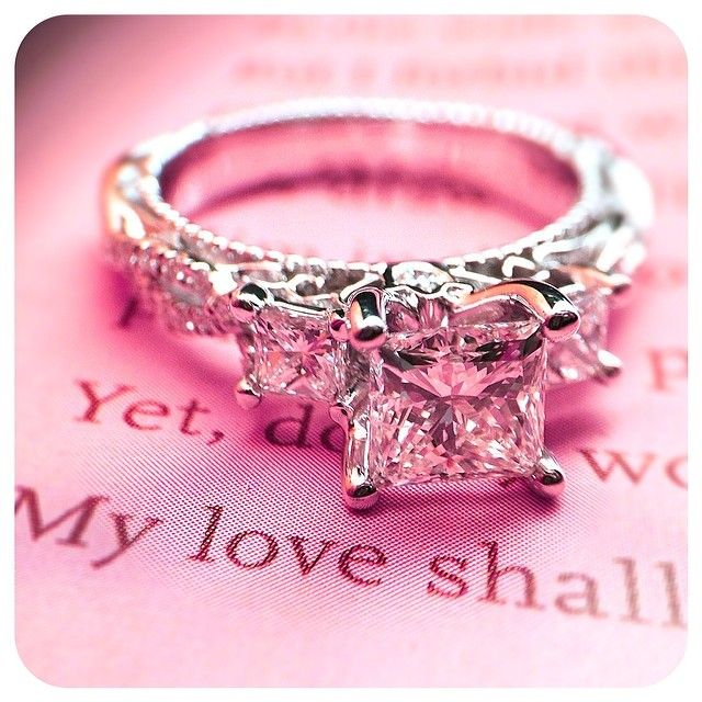 My love shall ______. Fill in the blank. Engagements rings from @Verragio ~ {Venetian-5013P}