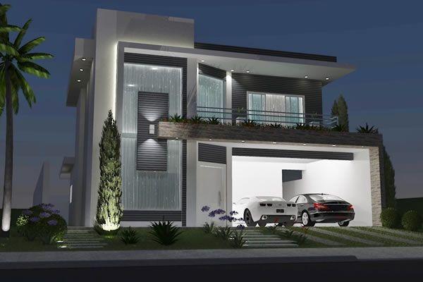 Sobrado com mezanino e p direito duplo nossa casa for Pintura exterior para casas modernas