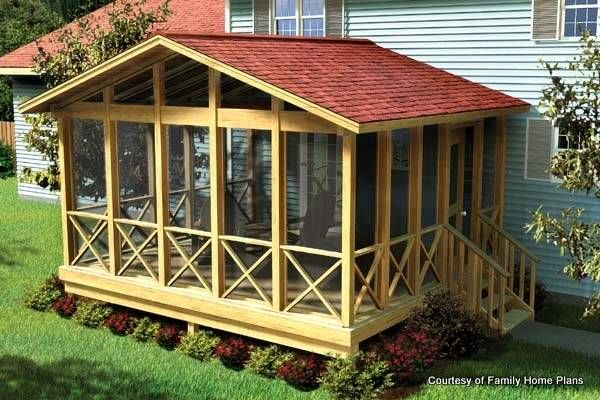 Family Home Plans Screened Porch Plan #90008