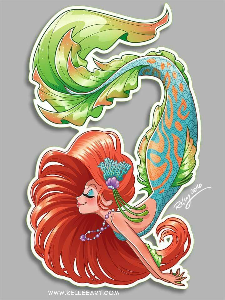 Red hair mermaid