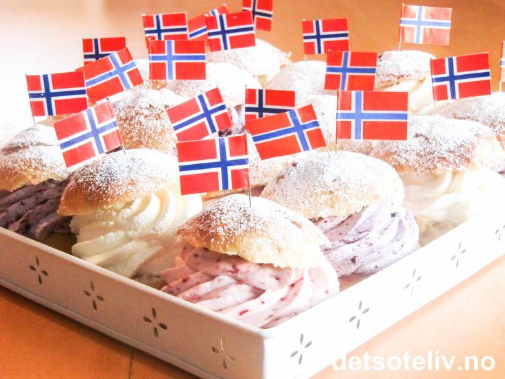 """For the norwegian national day! """"Her har du store, myke, fantastisk gode hveteboller fylt med krem i hvitt, rødt og blått! Heia Norge!!!"""""""