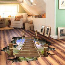 3D pont-levis artificielle retrait plancher autocollants forêt sauvage paysage de papier peint adulte accueil séjour chambre décorations