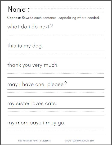 Capital Letters Worksheet - Students are asked to rewrite six sentences using correct capitalization. CCSS.ELA-LITERACY.L.K.2.A
