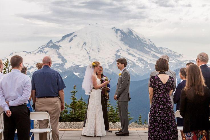 Crystal Mountain Resort wedding on the Mt. Rainier Platform. Photo taken by Daniel Sheehan.