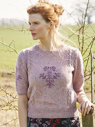 DAHLIA from Springtime Collection Six by Marie Wallin 8 handknit designs for women by Marie Wallin. A beautiful trans-seasonal collection of quintessential feminine knitwear featuring floral intarsias, fairisles, subtle lace and twisted stitch textures. Mainly using Rowan Felted Tweed, this collection is the ideal solution to the problem of what to wear on a sunny spring day when it's still chilly outside | English Yarns http://englishyarns.co.uk/rowan-marie-wallin-springtime.html