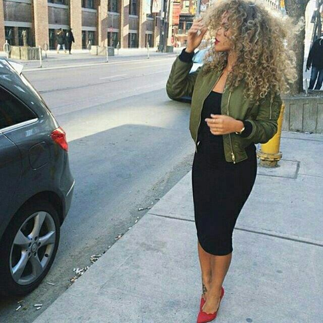 Fall & winter outfit - Black midi dress, green bomber jacket & red heels♡