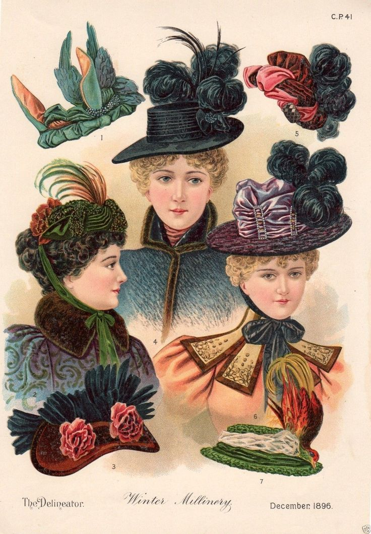 1896 PRINT ARTICLE: Winter Millinery Victorian Ladies' Fashion Hats & Bonnets | eBay