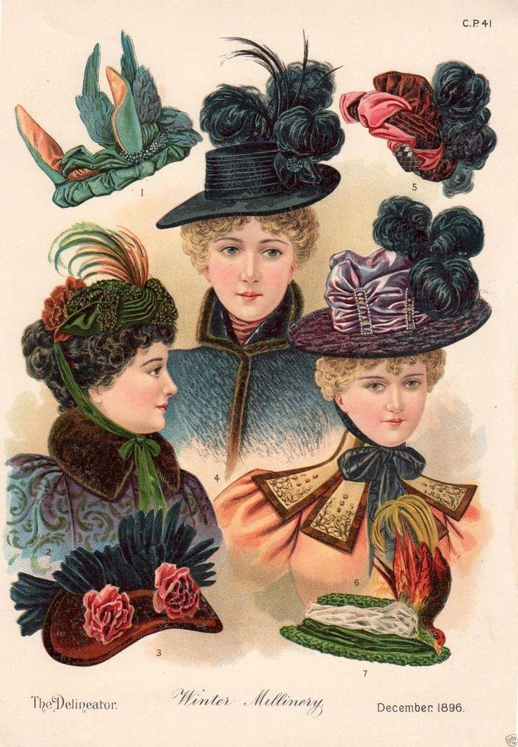 1896 PRINT ARTICLE: Winter Millinery Victorian Ladies' Fashion Hats & Bonnets | eBay