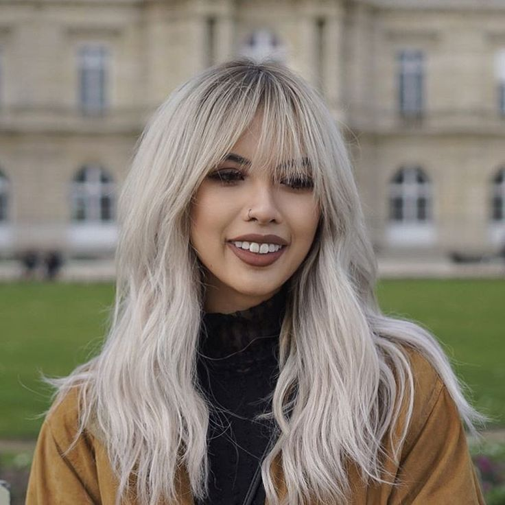 Long silver hair with bangs by hello.chantelle