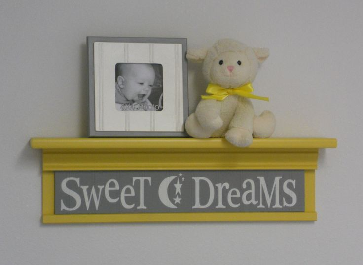 "Gray Yellow Nursery - Sweet Dreams on 24"" Shelf  - Wall Sign - Moon and Star Nursery Wall Art. $40.00, via Etsy."