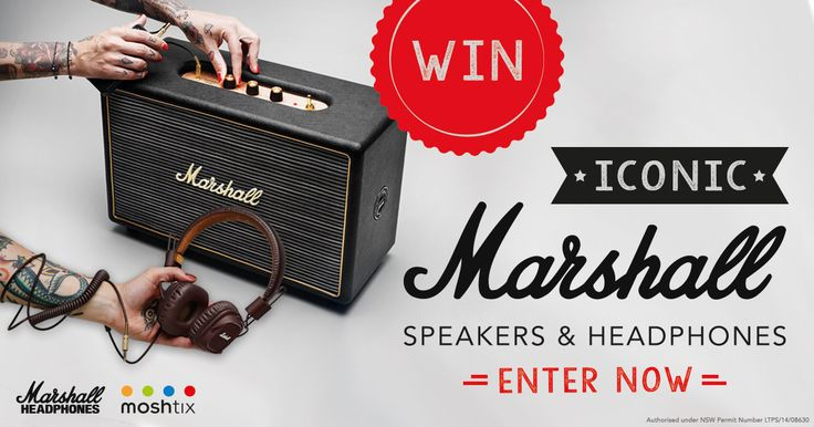 Two lucky moshtix fans will walk away with a Marshall Hanwell Speaker valued at $1,099 each!  Another moshtix fan will get a Marshall Woburn Speaker valued at $799!  There's also 5 x Runner-up prizes of a Marshall Major Brown Headphones, each valued at $159.95.