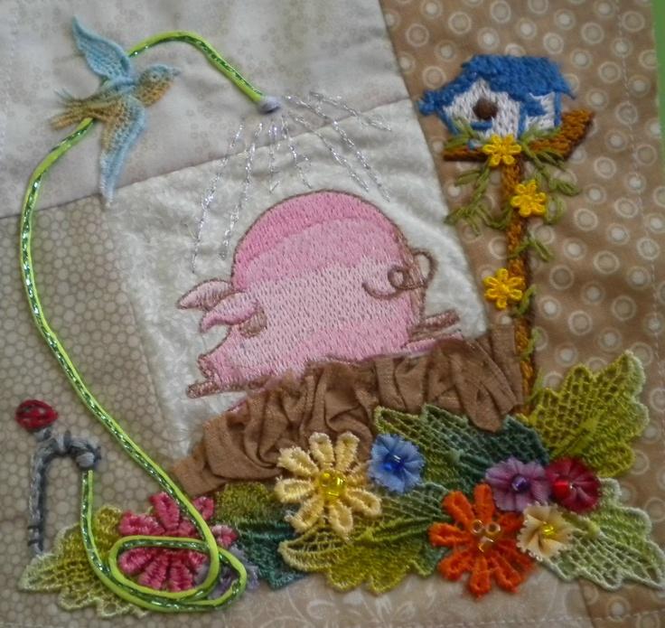 crazy quilt embellishing pig hose water bird feeder