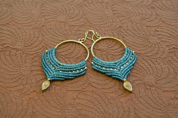 Macrame Earrings Brass Hoops Gypsy Festival Earrings Boho